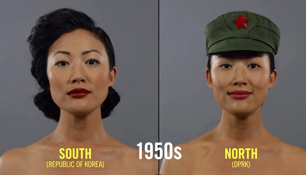 Schönheitsideale der vergangenen hundert Jahre in Korea in einer Minute zusammengefasst