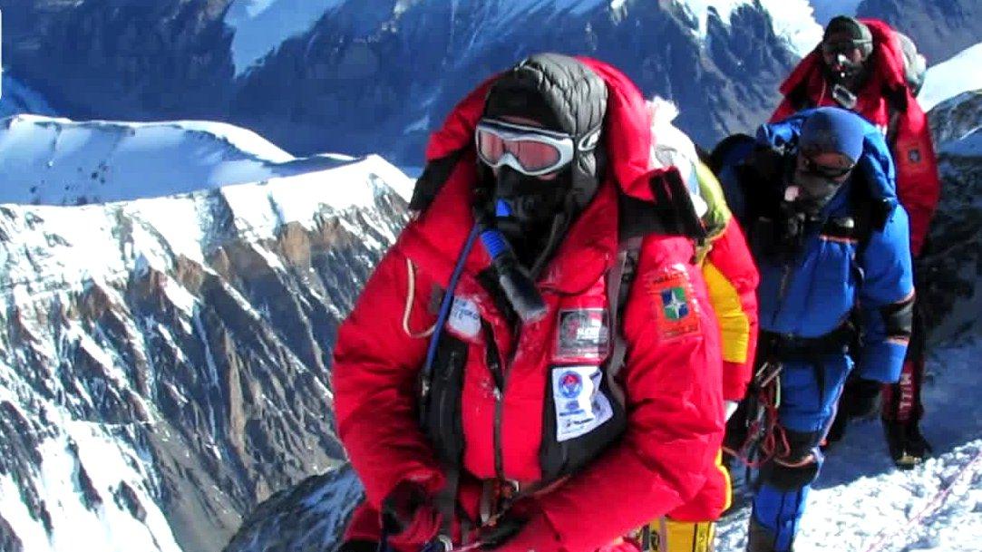 Bergsteiger im Himalaya-Gebirge, Nepal.