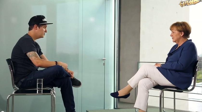 YouTuber LeFloid interviewt Bundeskanzlerin Angela Merkel, 2015.