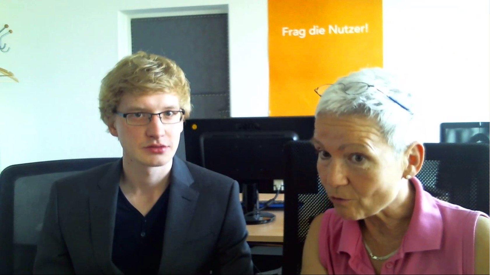 """Eric Hattke und Gabriele Feyler von """"Dresden für Alle"""", 2015."""