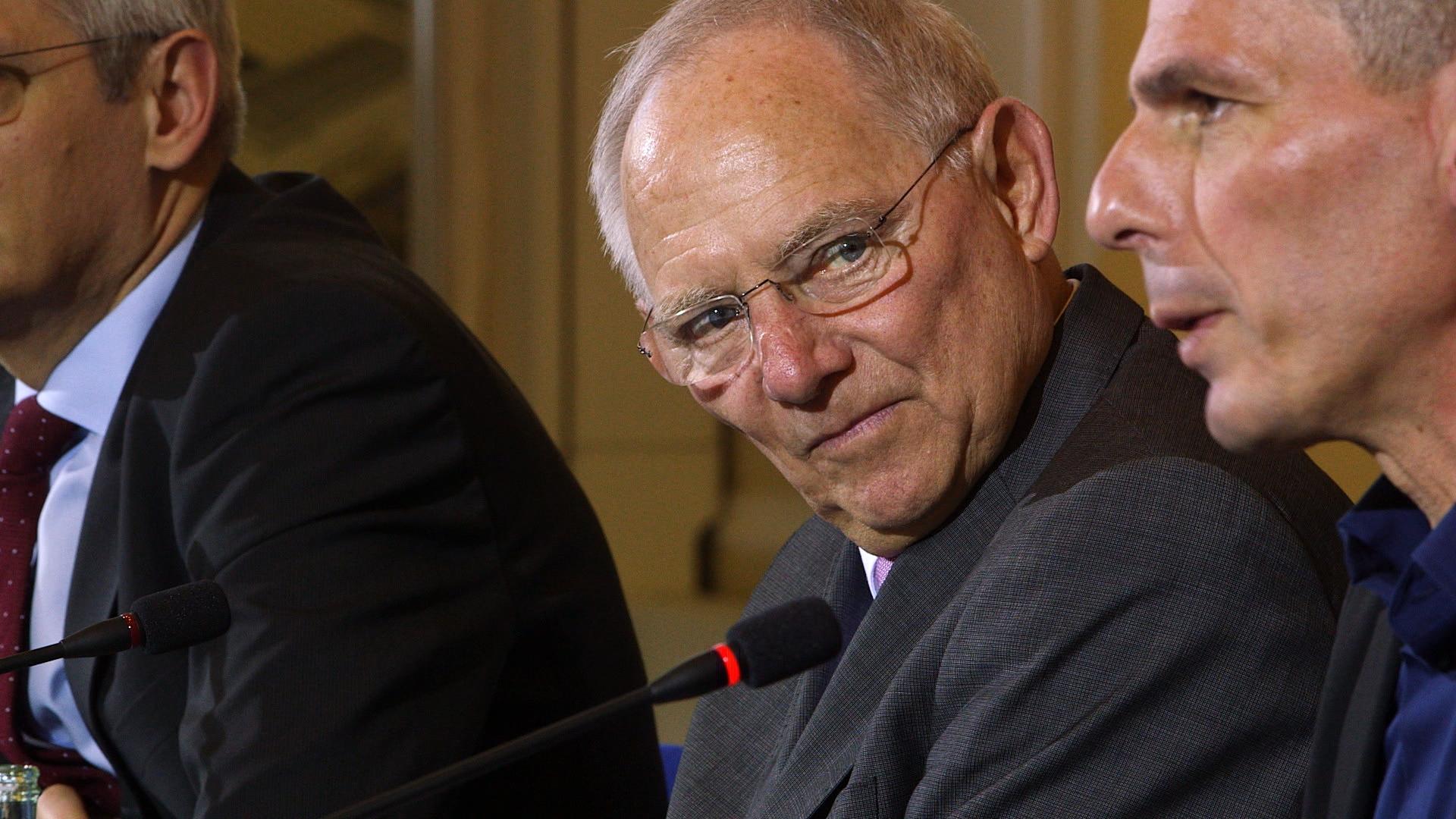 Finanzminister Woflgang Schäuble, 2015 mit Yanis Varoufakis