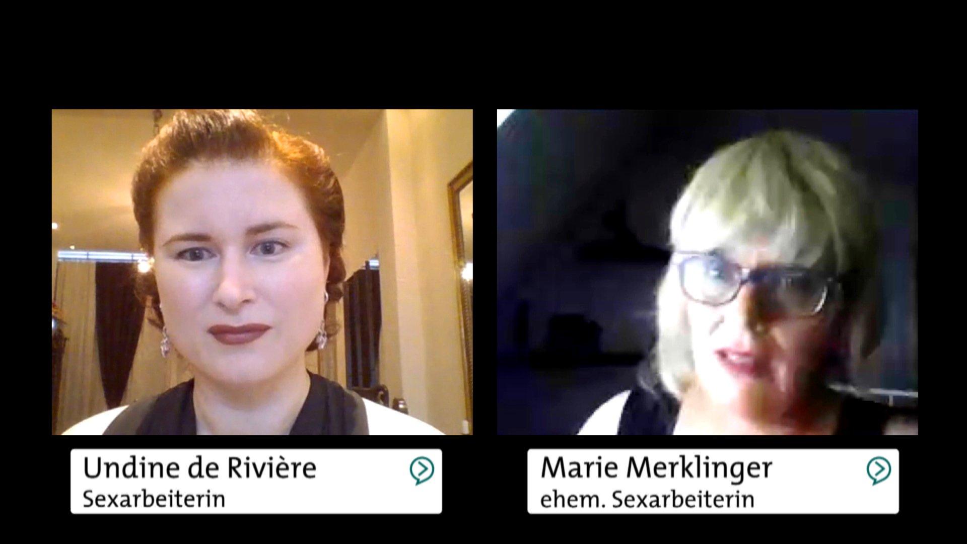 """Marie Merklinger und Undine de Rivière im dbate-Streigespräch zum Thema """"Prostitution legalisieren - Ja oder Nein"""""""