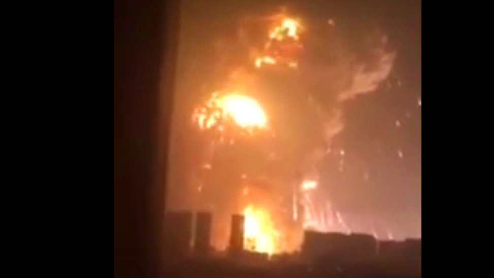 Heftige Explosionen in chinesischer Hafenstadt Tianjin, 2015.