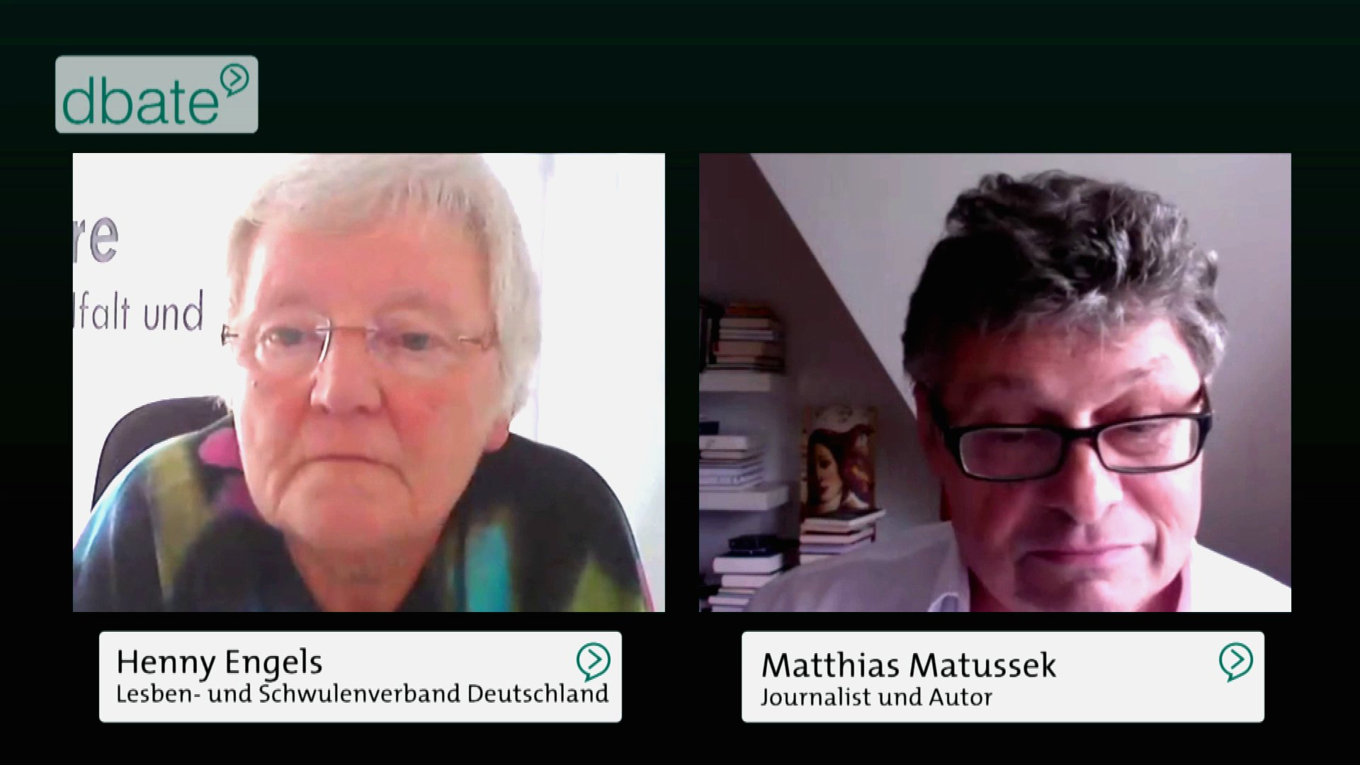 Streitgespräch über die Legalisierung der Homo-Ehe zwischen henny Engels und Matthias Matussek