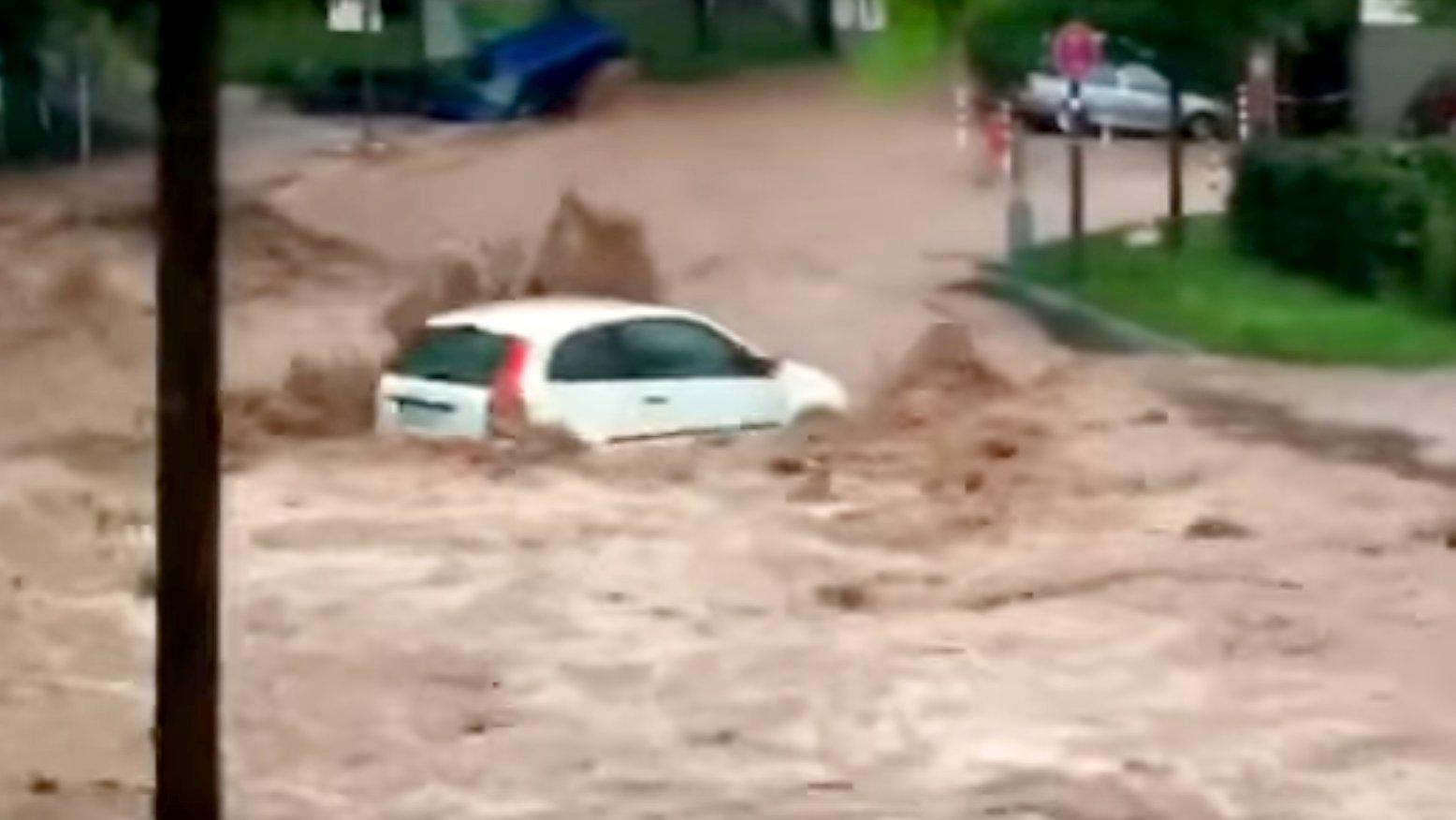 Hochwasser in Schwäbisch Gmünd, video