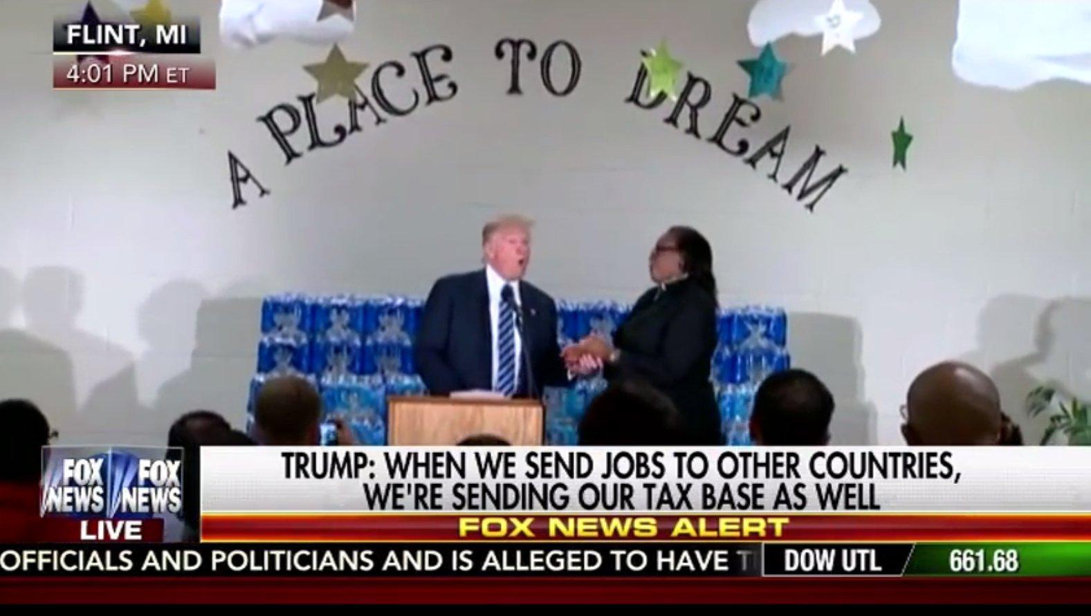Donald Trump beim Wahlkampf in einer Kirche,USA