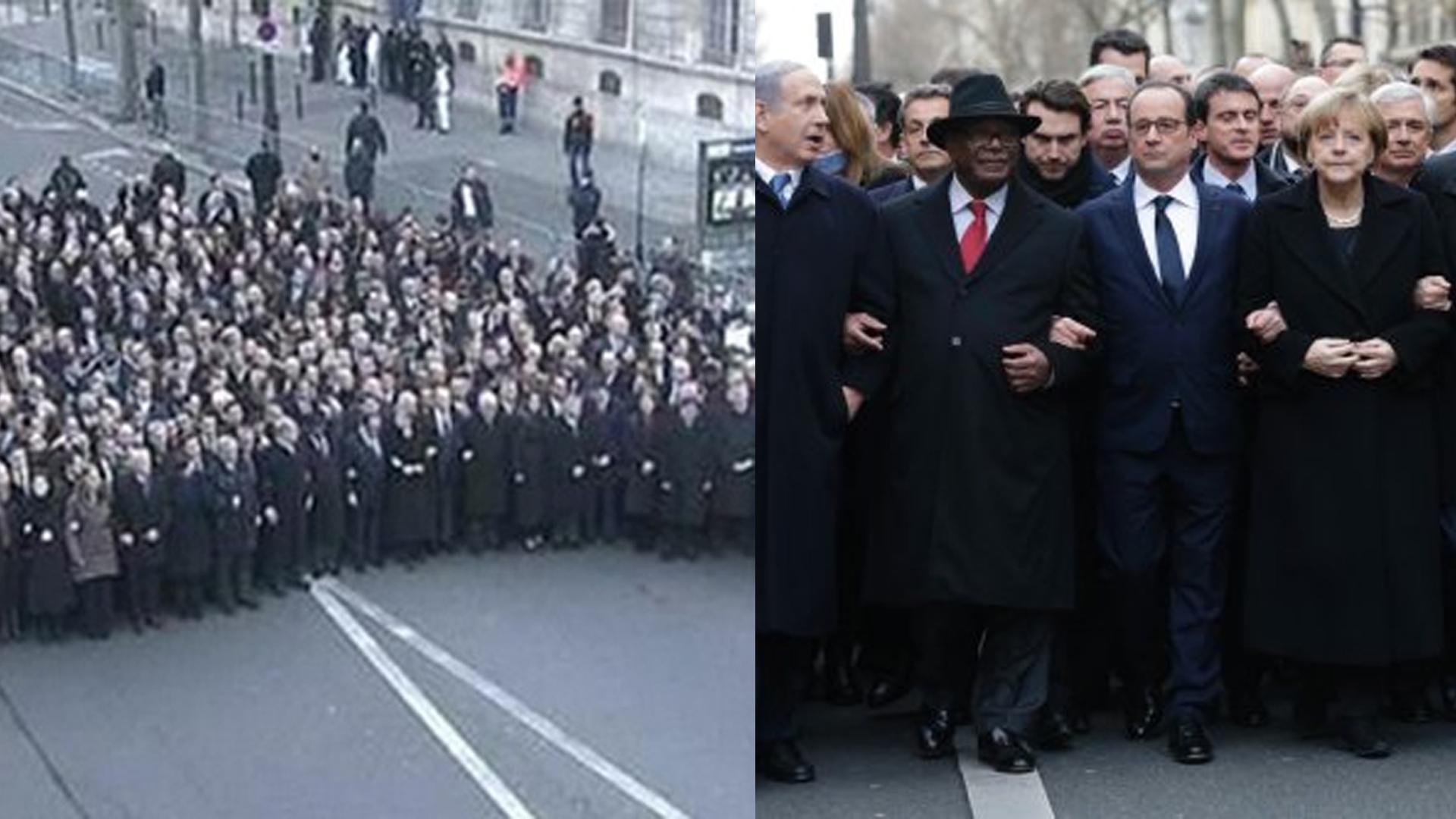 Staatschefs trauern in Paris mit einem Trauermarsch.