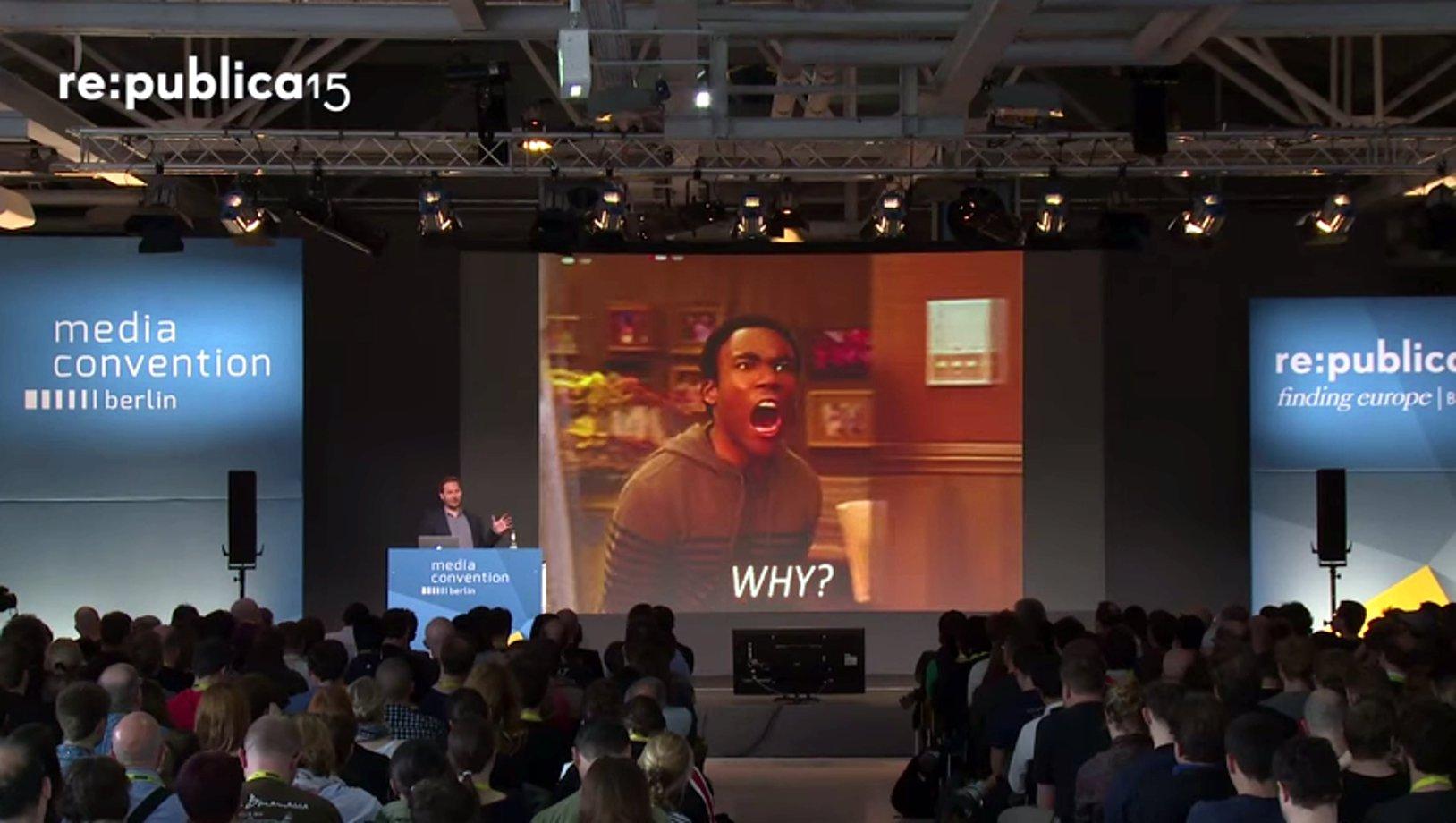Friedemann KLarig spricht auf der re:publica 2015 über die Abschaffung der Wahrheit
