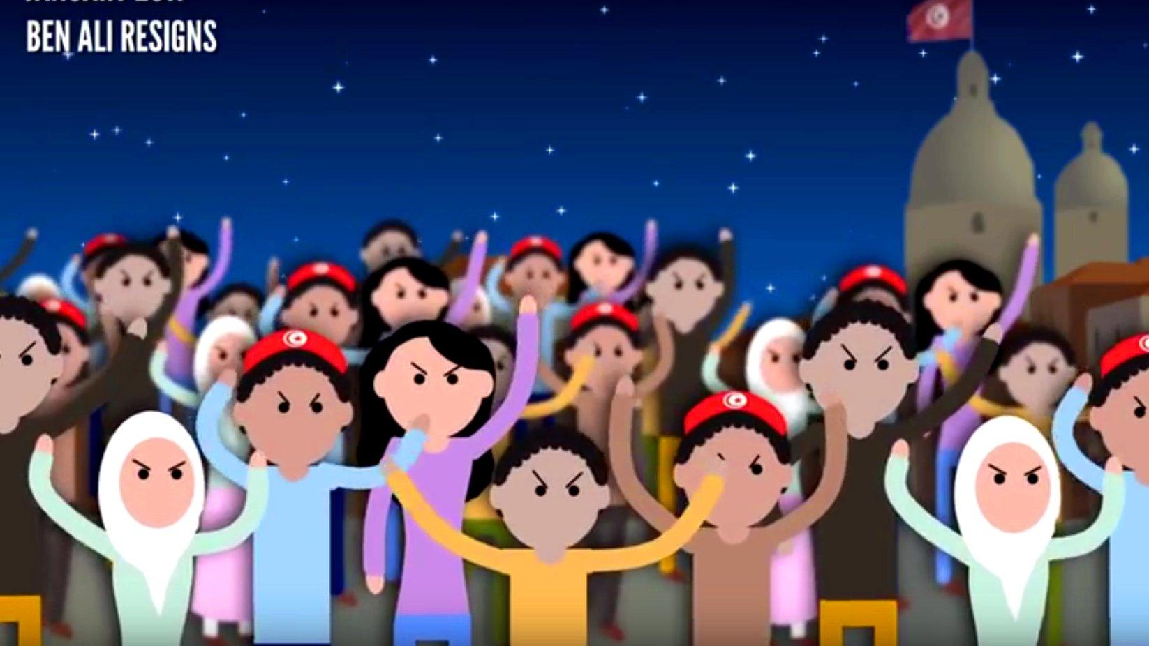Der Arabische Frühling in zwei Minuten (Erklärvideo), 2015.