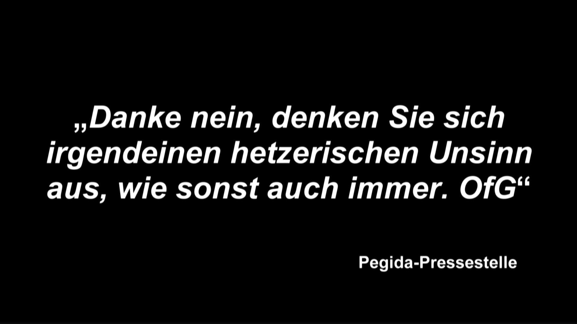 Antwort der Pegida-Pressestelle auf die dbate.de-Interviewanfrage, 2015.