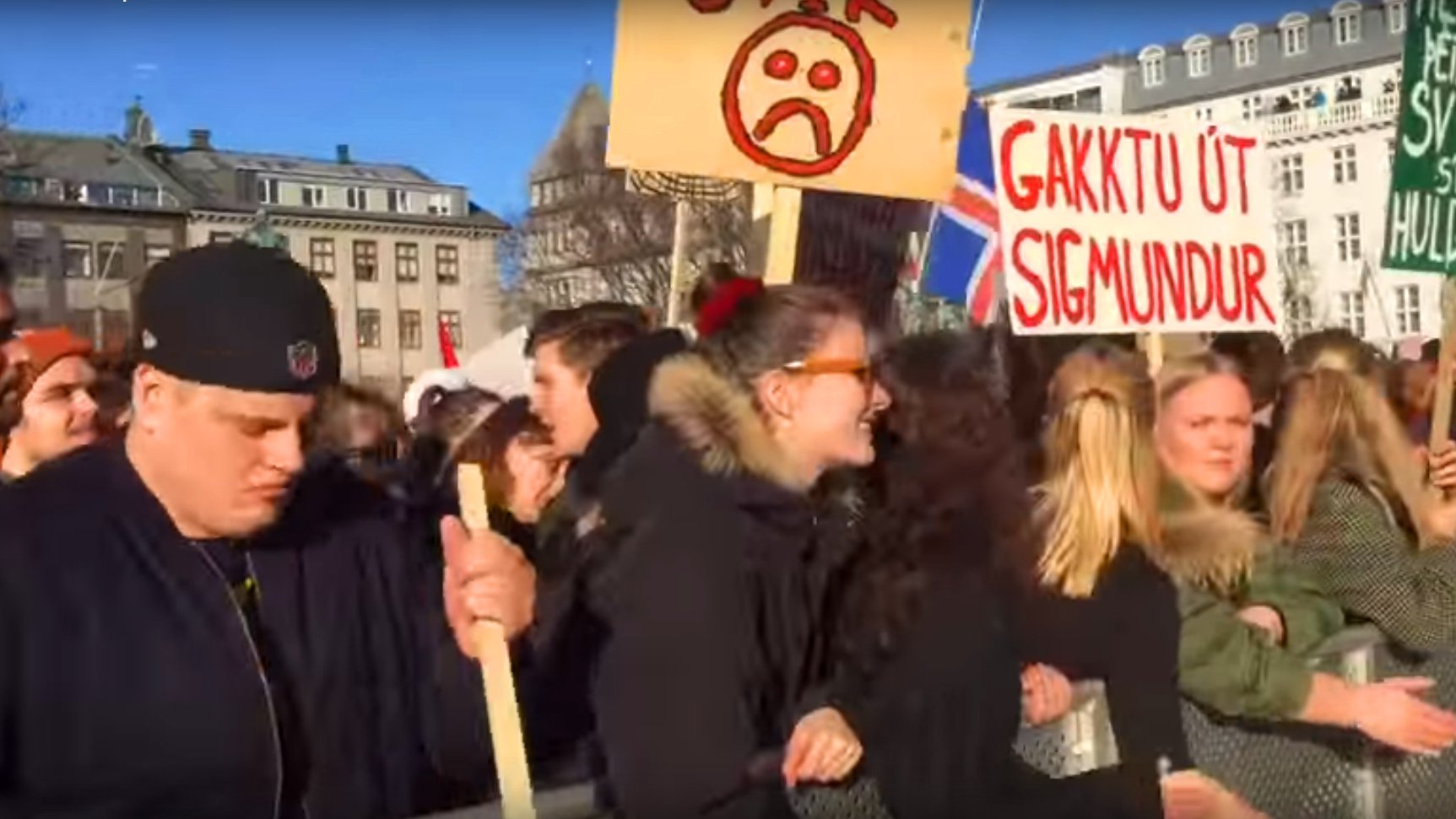 Demonstranten in Island, 2016 (Video)