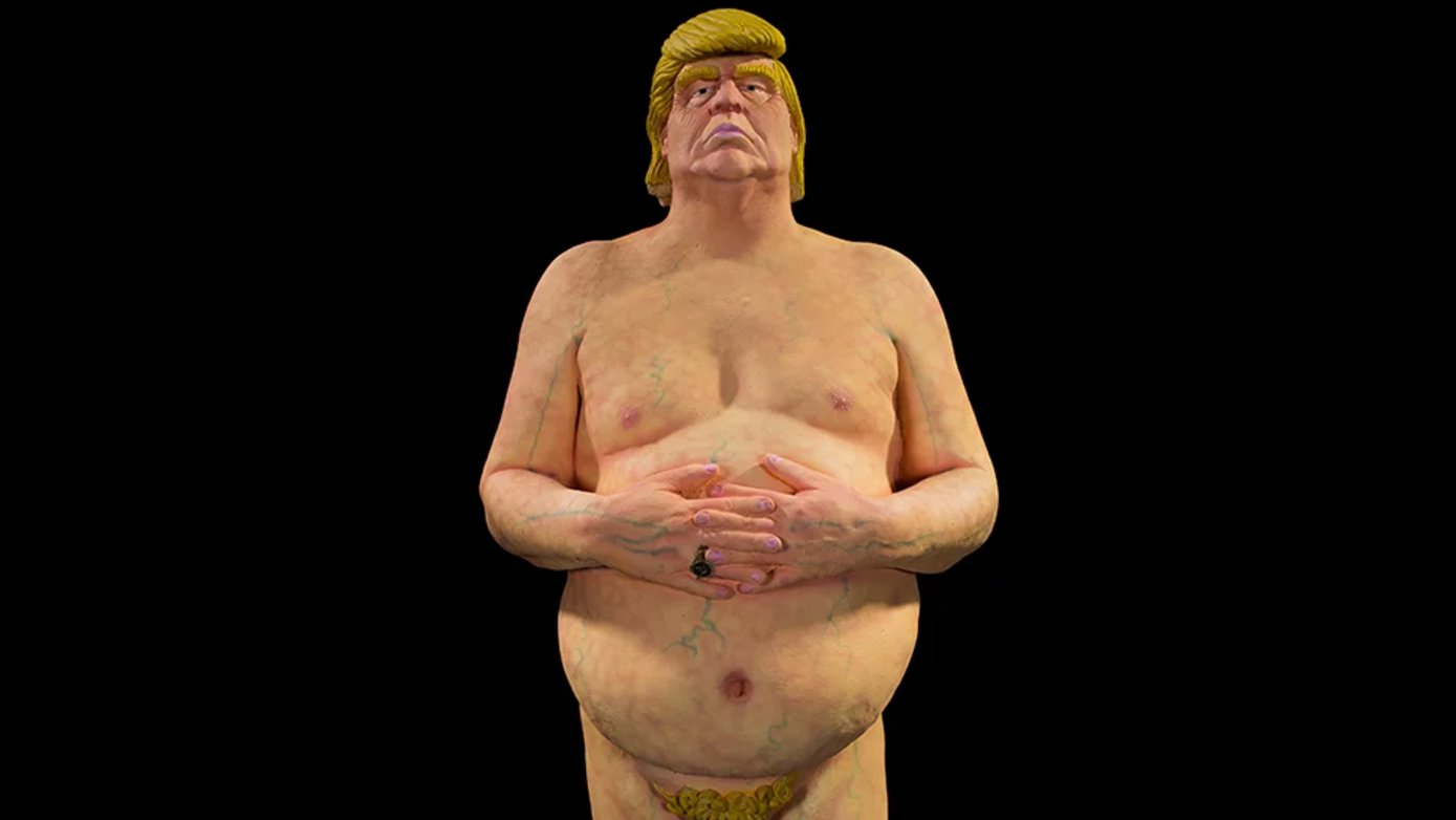 dbate-flash-trump-statue-usa-nackt