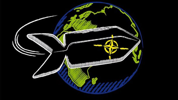 Eine Nato-Rakete umkreist die Erde (Zeichnung)