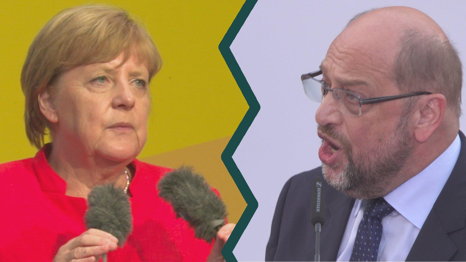 Heißer Wahlkampf: So werben Merkel und Schulz um Wähler