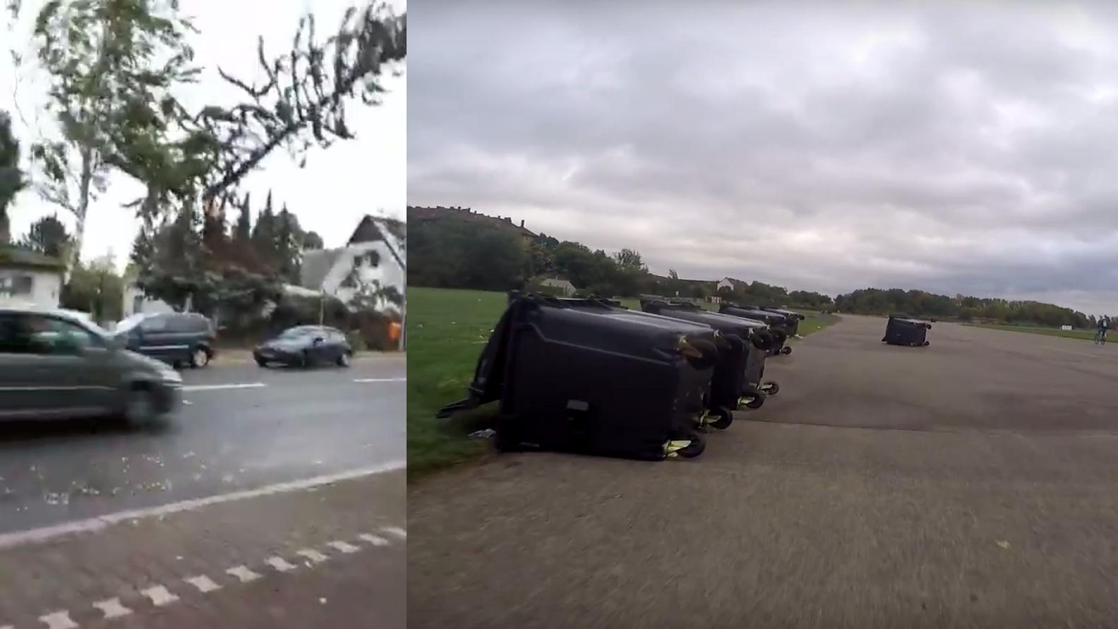 Sturm Xavier: Fahrradfahrer filmt Verwüstung in Berlin