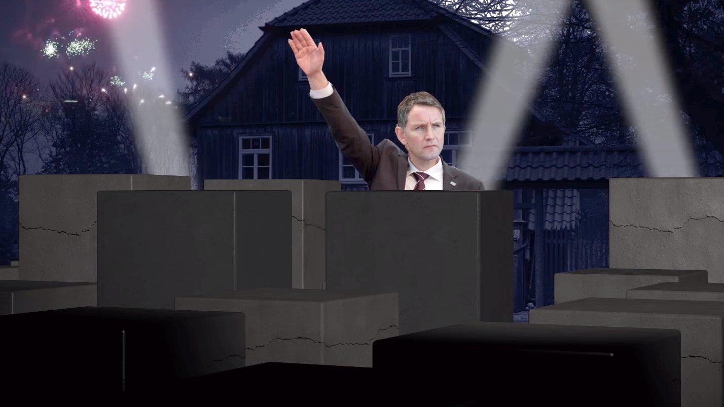 Aktionskünstler bauen Holocaust-Mahnmal vor Höckes Haus
