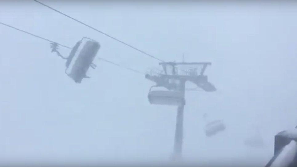 Vorarlberg: Ski-Lift im Sturmtief